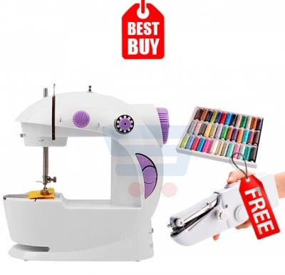 Combo Offer! Portable Mini Sewing Machine, White HHE-7752 & Get Handy Stitch EA-806 & Sewing Thread Box EA-839 FREE