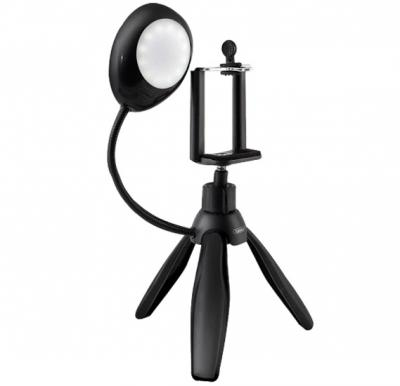 Earldom ET-ZP15 360 Degree Rotate Mini Smartphone Tripod with Selfie LED Light Ring & Phone Cradle