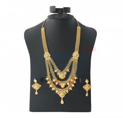Farha Jewellery 22K 3 Line Gold Plated Set With Ruby Stone Luxury Necklace, FR 239