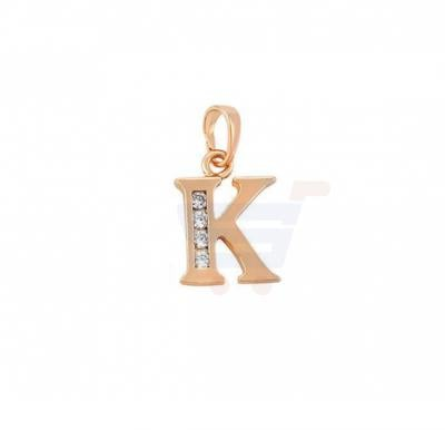 Xuping Necklace Pendant Gold Plated Letter  K