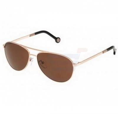 Carolina Herrera Round Beige Frame & Gradent Brown Mirrored Sunglasses For Women - SHE045-0300