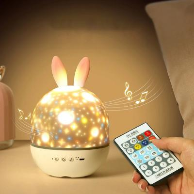 Cute Elf Rabbit Starry Projection Lamp Charging Rotating Atmosphere Night Light