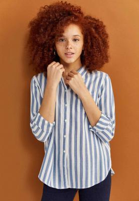 Springfield Womens Blouse Shirt White/Light Blue/Full sleeve, SIze 34