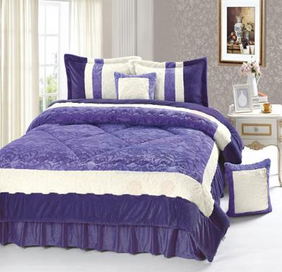 Senoures Velour Comforter 6Pcs Set King - SPV-001 Purple