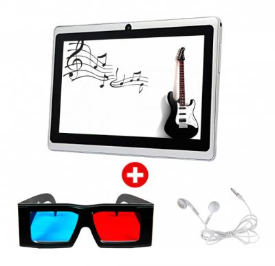 7 inch Tablet, Android, 4GB, Dual Core, Camera, Wifi and Get 3D Glass + Earphone.(WHITE)