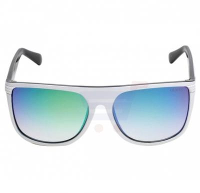 Guess Trapezoid White Frame & Green Mirrored Sunglasses For Men - GU6837-21X