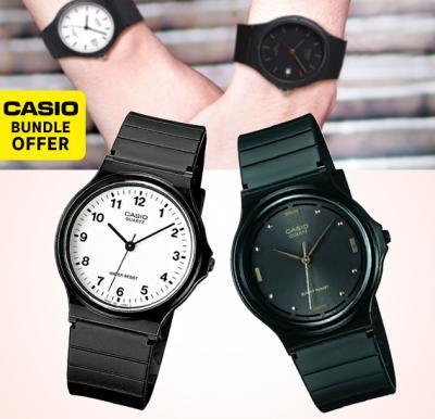 2 in 1 Bundle Casio Analog MQ-24-7BLDF Mens Watch, Black with Casio Analog MQ-76-1ALDF Rubber Strap Unisex Watch, Black