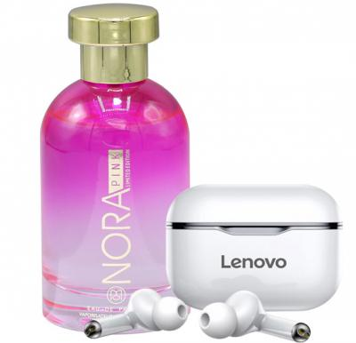 2 in 1 Pack of Lenovo LP1 Live Pod Bluetooth Earphone and Ruky Nora Pink Perfume
