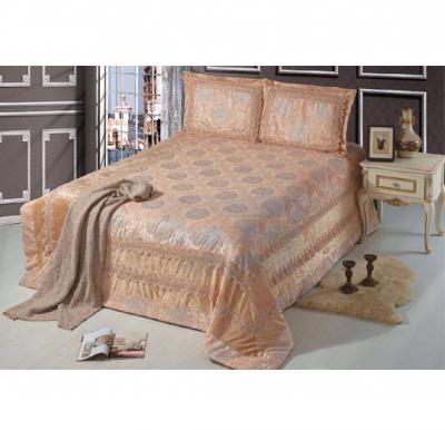 Senoures Lace Velvet Bed Spread 3Pcs Set Double - SBB-Camel