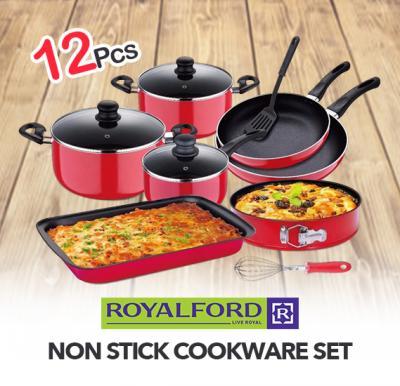 Royalford 12Pcs Non Stick Cookware Set - RF8429