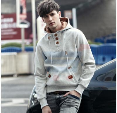 Mens Hoodie Casual Fastener Design Fashion Coat White (Large) - 0561