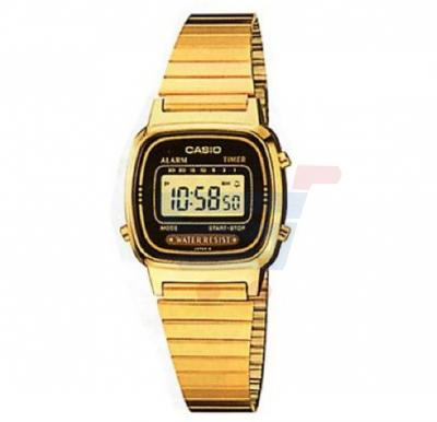 Casio Digital Dial Watch For Women, Gold Plated Stainless Steel-LA670WGA-9DF