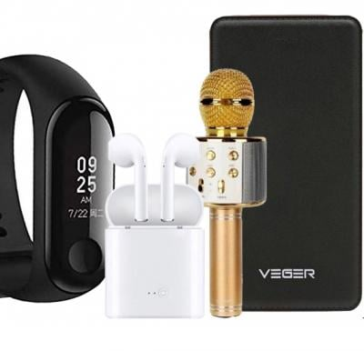 4 in 1 Wster Wireless Microphone WS-858, Veger V58 15000 Mah Power Bank With Ios & Android Cable, M3 Fitness Band Intelligence Bluetooth Health Wrist Smart Band With i7-Mini Bluetooth 5.0 TWS Small Wireless Headset Earbuds Earphone With Charging Box Stereo i7s