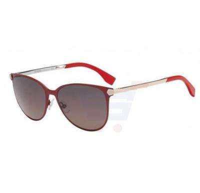 Fendi Round Red/Pink Frame & Brown Gradient Mirrored Sunglasses For Women -  FF0022S-COL-7VZPR