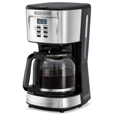 Black and Decker DCM85-B5 900W Programmable Coffee Maker 12 Cups, Black And Silver