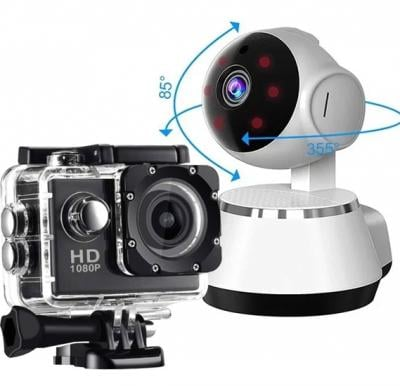 2 in 1 Elony action camera and IP Security camera Bundle