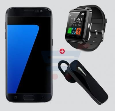 3 in 1 Bundle MBO S7 4G Smartphone - Black,  Bluetooth smart watch and Bluetooth Handsfree Mono Headset