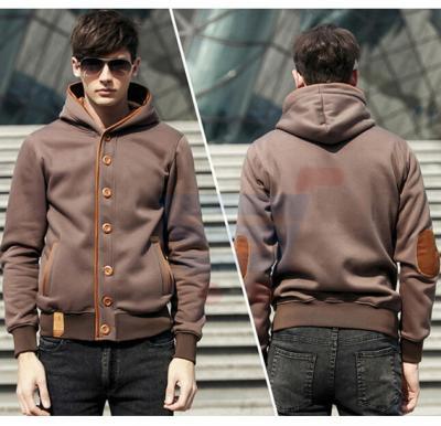 Mens Hoodie Casual Fastener Design Fashion Coat Coffee (Small) - 0561