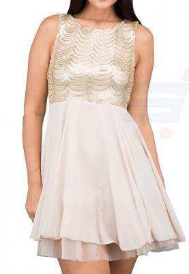 TFNC London Breena Flare Party Dress Gold - CTT 29970 - L