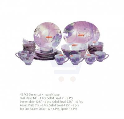Flamingo Round Glass Dinner Set 45 PCS - FL8401GDS