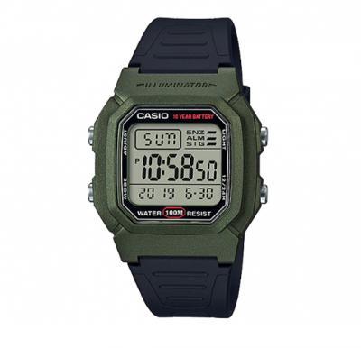 Casio W-800HM-3AVDF Classic Black & Green Youth  Digital Sports Watch