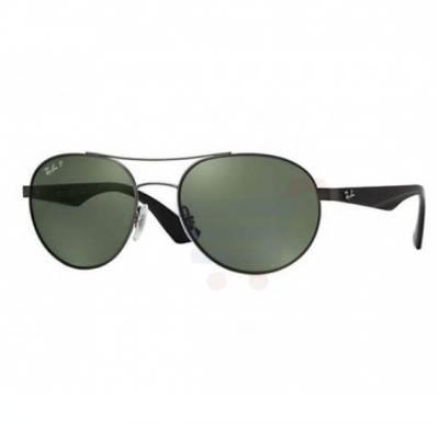 Ray-Ban Round Gunmetal Frame & Polar Dark Green Mirrored Sunglasses For Unisex - RB3536-0299A-55
