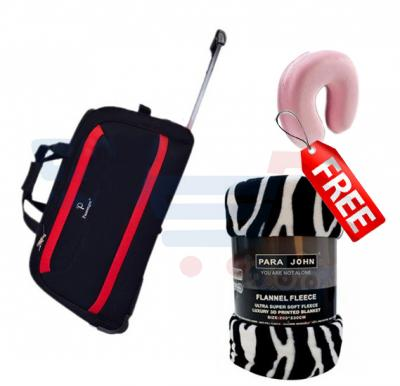 Combo Offer! Buy Passenger 24 Inch Duffle Trolley, JE 4651, Black & Get Para John 3D Printed Polyester Blanket, 200x230 Black&White + Mavel Neck Pillow 6291106920499