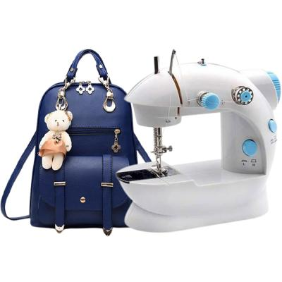 2 In 1 Vogue Star New Designer Women Backpack For Teens Girls Blue And Elony Portable Mini Sewing Machine White, SM-202 A