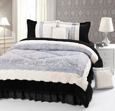 Senoures Velour Comforter 6Pcs Set King - SPV-001 Grey