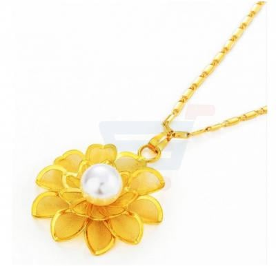 18k Gold Plated Rose Flower Pearl Pendant Necklace For Women