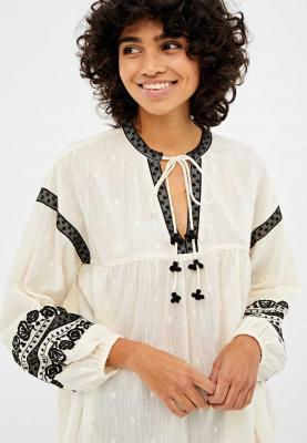 Springfield Womens Blouse Kurtis Ivory W/Black, Full sleeve, Size 36