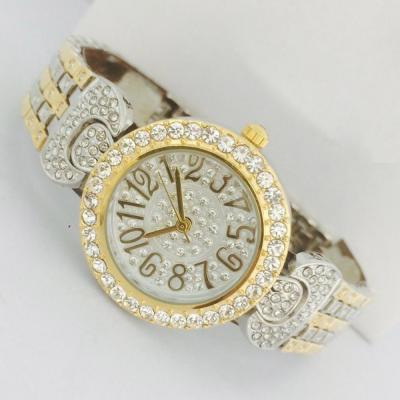 Catwalk Fashionable Cz Stone Covered Analog Stainless Steel Silver Dial Watch for Women, CW1024