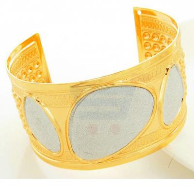 18k Gold Plated Italian Design Cuff Bracelet For Men