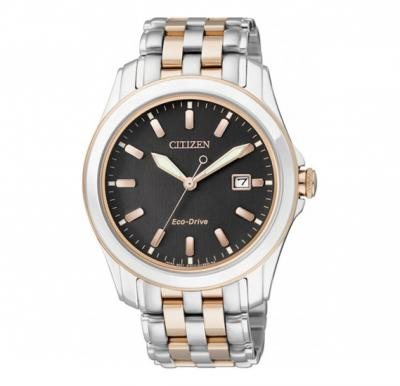 Citizen Eco-Drive Mens Watch Gold Stainless Steel Black Dial, BM6735-52E