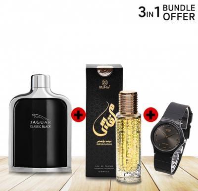 3 in 1 Special Offer, Jaguar Classic Black 100ml, Casio Analogue watch, Ruky Oud Muqadhas Eau De Perfume 30ml
