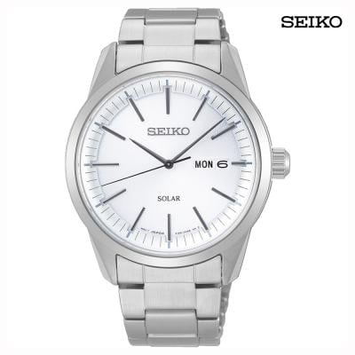 Seiko SNE523P1 Solar Analog Watch For Men, Silver