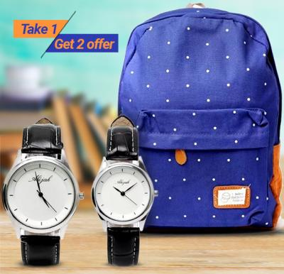 Take 1 Get 2 offer ! Buy Generic Unisex Canvas Shoulder bag and Get 2 Piece Abijah Wrist Watch Set