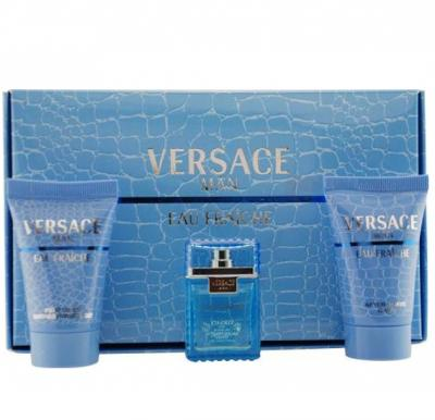 Versace Eau Fraiche Gift Set EDT 5ml, Shower Gel 25ml and After Shave Balm Miniature 25ml