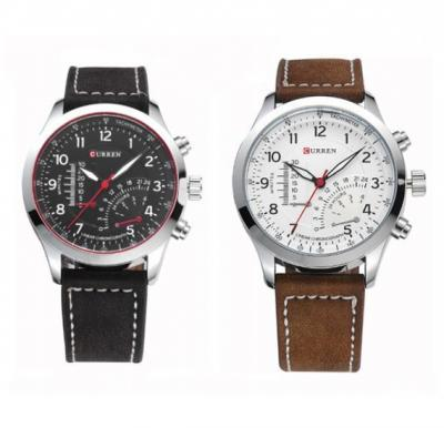 Curren Set of 2 Analog PU Leather Watches for Men, 8152 - Black & White