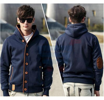 Mens Hoodie Casual Fastener Design Fashion Coat Blue (Large) - 0561