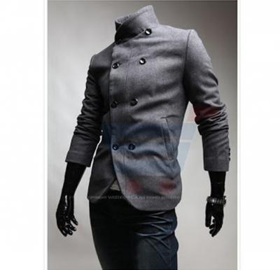 Mens High Neck Casual Coat Grey (Small) - 1655