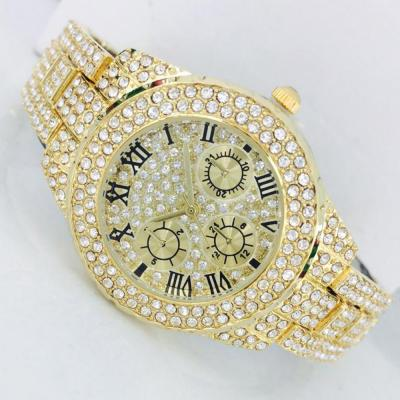 Catwalk Fashionable Cz Stone Covered Analog Stainless Steel Gold Dial Watch for Women, CW1022
