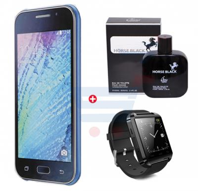 Bundle Offer Enes G12 Smartphone, 3G, Android 5, 1GB Ram, 4 GB Storage, 5.0 inch HD Display, Dual Camera And Get Horse Black Perfume 100 ML, Bluetooth Smart Watch for Free, Blue