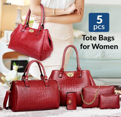 Generic Multi-function Tote Bag for Women, Set of 5 Pieces,Red,ES503