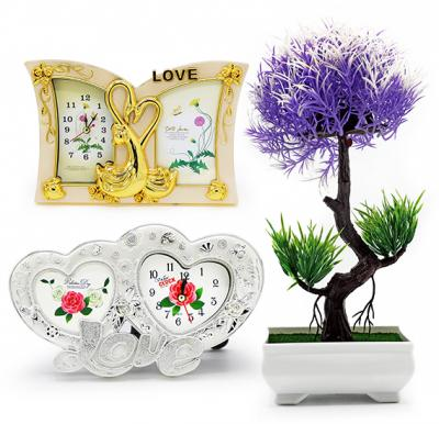 3 in 1 bundle Offer, 2 set clock photo frame with Artificial Flower vase