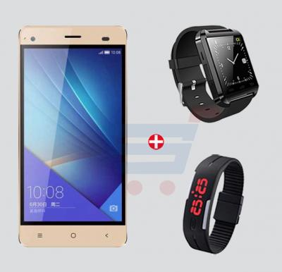 Bundle Offer! Hotwav Fone Mate S Smart Phone, Android 4.4.2, 4GB Storage, 4 inch IPS LCD, Dual SIM , Wifi Gold & Get Bluetooth Watch + Wrist Band Sports Watch FREE