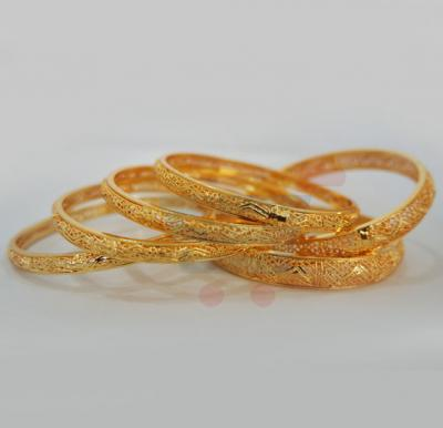 Nathasha Arts 22K Gold Plated Handmade Design Bangles 6 Piece Set, 12646