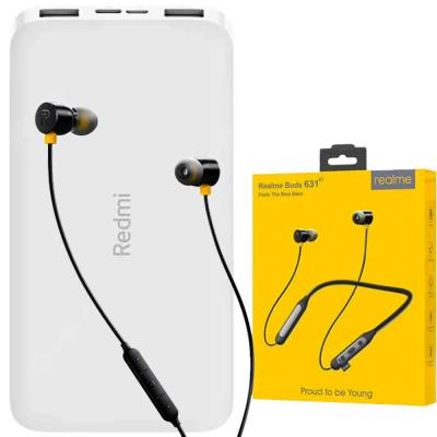 2 in 1 Bundle Pack Realme Wireless Bluetooth Buds 631BT with Redmi 10000 mAh Li-Polymer Power Bank White