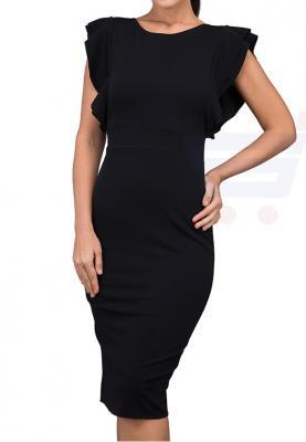 WAL G Italy Frill Sleeve Midi Casual Dress Black - MK 6232 - M