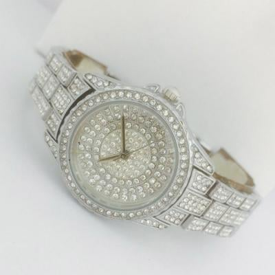 Catwalk Fashionable Cz Stone Covered Analog Stainless Steel Silver Dial Watch for Women, CW1029